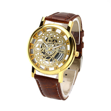 Hot selling men watches top brand luxury Imitation mechanical watches man PU leather strap quartz wristwatches relogio masculino(China)