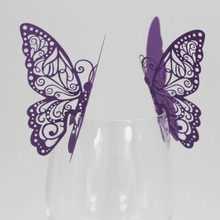 New 50 PCS Butterfly Wine Glass Paper Card for Wedding Party White High Quality Wholesale