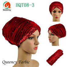 Classic Turban African headwrap and scarf , beads sequins soft African headtie gele, african turban gele, women headtie.HQT08