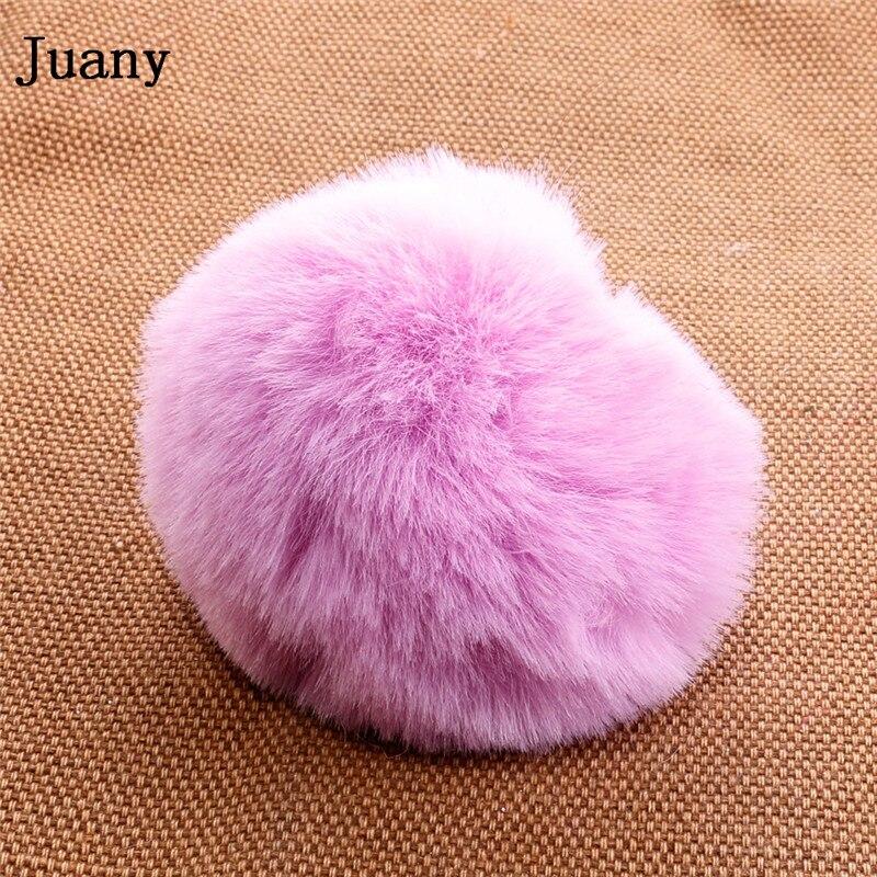 pompom key chain fluffy rabbit fur ball with bell key chain fake fur keychain women car bag key ring 12