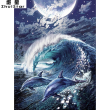 New 5D DIY Diamond Painting Dolphin Moon sea Embroidery Full Square Diamond Cross Stitch Rhinestone Mosaic Painting decor Gift