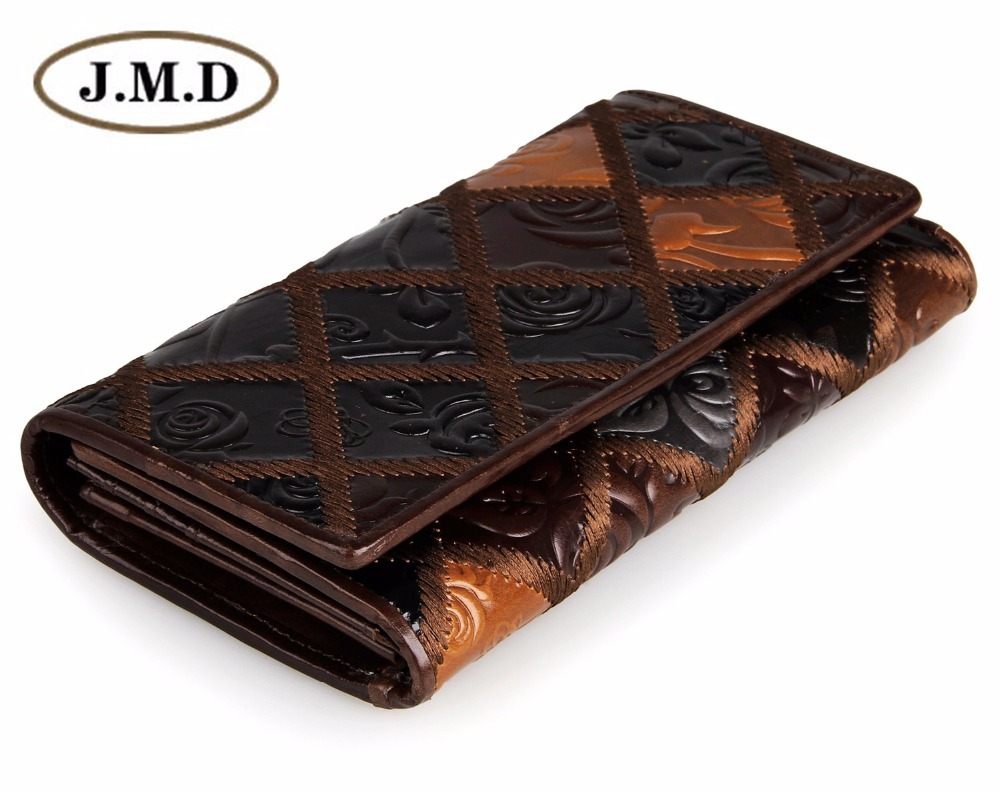 JMD Free Shipping Tanned Genuine Cow Leather Women Wallets 3 Folded Rhombus Pattern Womens Card Holder 8092-3C<br>