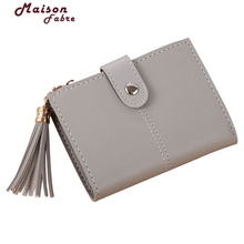 Lady Snap Fastener Short Clutch Wallet Vintage Tassel Women Wallet Fashion Small Female Purse short Coin Card Holder 914#23(China)