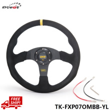 Tansky Steering Wheel 14 inch 350mm Racing Car Steering Wheel Suede Leather Drifting Steering Wheels TK-FXP07OMBB-YL-FS