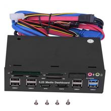 All in One 5.25inch Media Dashboard Front Panel USB3.0/2.0 HUB eSATA SATA Audio Multi Card Reader supports M2/TF/SD/MMC/MS/CF
