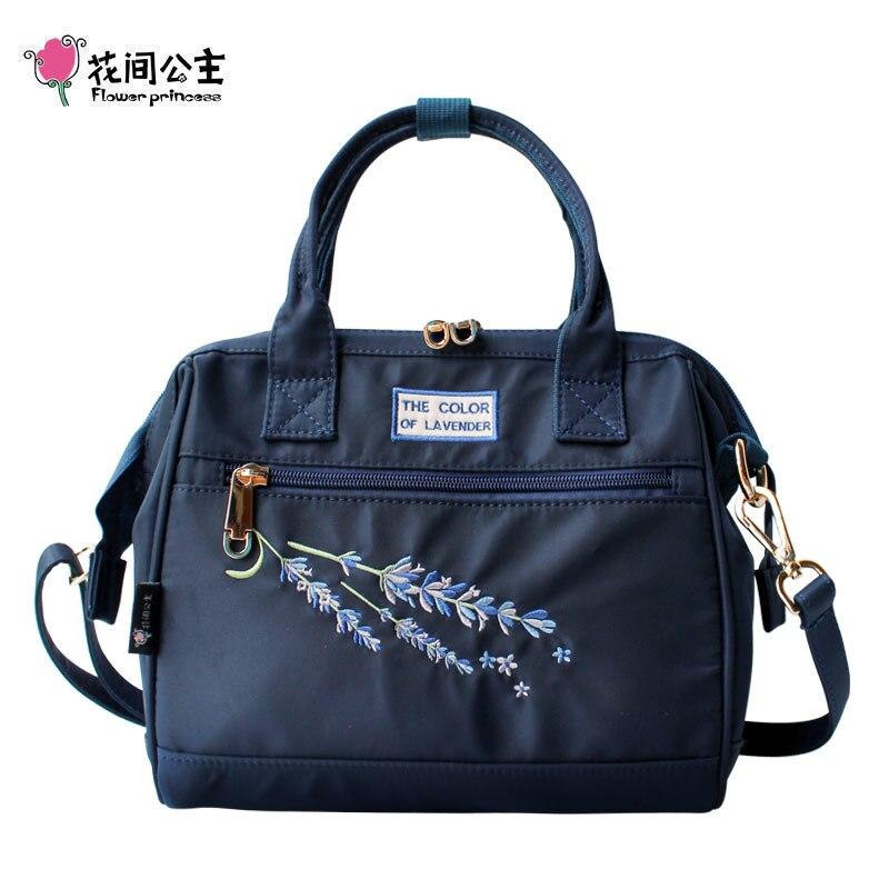 Flower Princess Nylon Embroidery Lavender Handbag Women Crossbody Bags Teenage Girls Ladies Hand Bag Bolsos Mujer Bolsa Feminina<br>