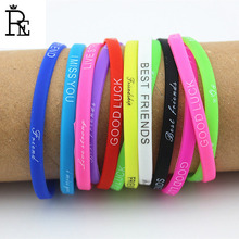 RE 500pcs/lot Free Shipping Blessing Wristband Bracelet Rubber Hand Bands Promotions Silicone Bracelets Wristband Cheap Price(China)