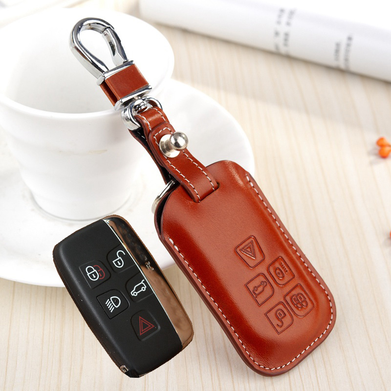 Leather Keyfob Holder Case Chain Cover For Land Rover Discovery Freelander 2 LR3