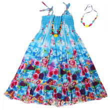 Summer Girls Beach Dress Bohemian Style Floral Shoulderless Beading Necklace Sundress Dress Casual Kids Vestido Infantil Clothes