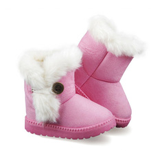 KIDS Winter Fashion child girls snow boots shoes warm plush soft bottom baby girls boots winter snow boot for boys 45(China)
