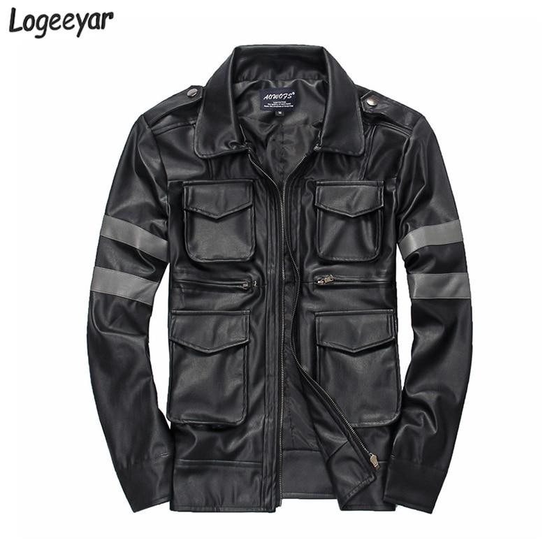 e6a1ed628bd Resident Evil Hot-Selling Three-Dimensional Pockets Mens Leather Jacket  Slim Fit Leather Coat Men Size M-3XL. US  36.80. Mens Faux Fur Coat DIY Game  ...