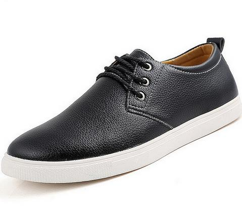 Large Size 38-49 Men Shoes 2016 Spring Fashion Casual Shoes Breathable Leather Shoes Lace-up Men Oxfords Black Blue Brown<br>