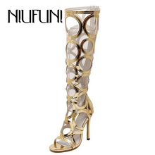 2016 New Fashion Women's Summer Boots Sexy Cut Outs Peep High Heels Ladies Sandals Knee High Zip Cover Heel Shoes Women Pumps