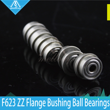 10pcs / lot 3D printer accessories parts F623 ZZ Flange Bushing Ball Bearings F623ZZ 3*10*4 mm pulley bearing guide wheel