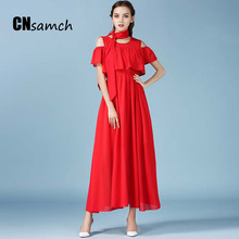 Fashion Dress Chiffon Fresh Summer Show Thin Large Pendulum Dress Off The Shoulder High Waisted Dress(China)