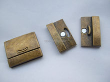 3 Sets Antique Brass Flat Leather Strong Magnetic Clasp 30x2mm for flat leather or multi strand round leather