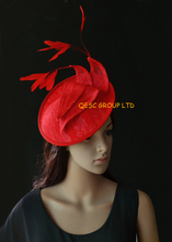 Red Lace sinamay  fascinator kentucky derby hat with 8pcs red cocktail feathers for wedding.