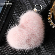 Genuine Rex Mink Fur Fluffy Keychain With Gold Ring Bag Charm keyring Purse Accessories Lover's Key Chains for Car Gift
