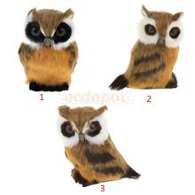 Fairy Night OWL Figurine Collection Miniature Furry Animals Model Plush Kid Toy Decorative Collectibles Ornament Kid Gift(China)