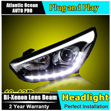 car styling For Hyundai IX35 headlights U angel eyes DRL 2010-2013 For Hyundai IX35 LED light bar DRL Bi-xenon Double lens HID K(China)