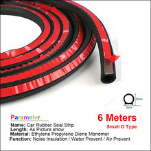 6 Meter/pcs small D 9*10mm car sound insulation sealing rubber strip anti Noise Rubber 3m Sticky Tape car door seal(China)