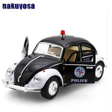 Alloy children's toys pull Back car Volkswagen Beetle Police car model Birthday Gift Diecasts & Toy Vehicles Classic car(China)