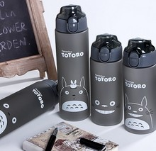 500ml/700ml Totoro Water Bottle Cartoon Scrub Sports Space Fruit Juice Plastic Drinkware My Water Bottle Eco-Friendly
