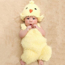 2017 Newest Newborn Baby Photography Prop Infant Kids Lovely Chicken Hat+Suspenders 2pcs/Set Photography Soft Warm Sweater Suit(China)