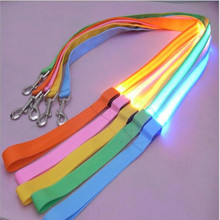 Hot Nylon Pet 120cm LED Dog Leash Night Safety Flashing Glow LED Pet Supplies Cat Dogs Drawing Small Leads for LED Dog Collar