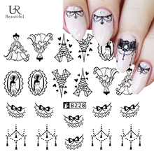1 Sheet Black/White Lace Necklace Nail Art Stickers Water Transfer Designs Nail Tips Decals Manicure Tools For DIY Decor BEB228(China)
