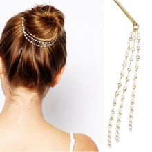 1 pcs Hot sale Dish Tassels Beauty Accessories Moon Headwear Style New Shining Cute Hair Clip Hairpin(China)