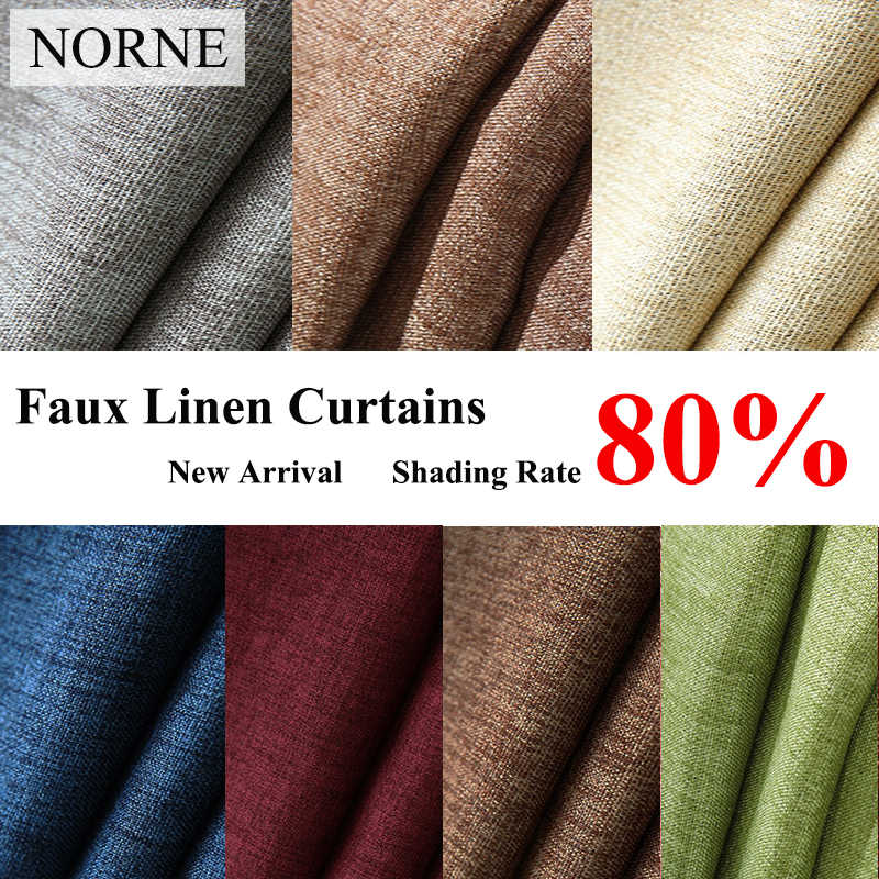 NORNE New Fabric Solid Color Faux Linen Blackout Curtains for Living Room Modern Bedroom Window Curtains kitchen Curtains Blinds