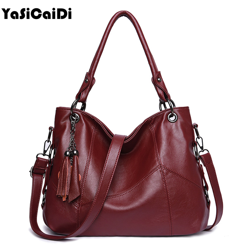 YASICAIDI Sheepskin Leather Women Bag Tassel Designer Genuine Leather Shoulder Bag Large Capacity Women Handbag Soft Tote Bags<br>