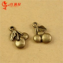 18*13MM Antique Bronze Vintage Cherry charm pendant beads mobile phone accessories wholesale in Europe and America retro jewelry(China)