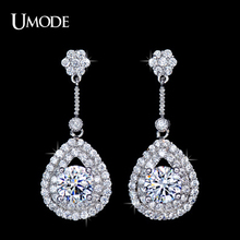 UMODE Brand Halo Long Earrings With Top Quality AAA+ Cubic Zircon Drop Earrings For Women Cheap Jewelry Stores AUE0088(China)