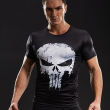 Compression Shirts Men 3D Printed T-shirts Short Sleeve Cosplay Fitness Body Building Male Crossfit Tops Punk Skull Skeleton(China)