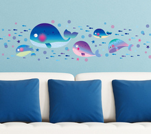 Ocean World Whale Baby Room Wall Stickers DIY Home Decor For Kids Rooms Bedroom Bathroom PVC Mural Wall Sticker For Kindergarten