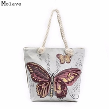 Naivety 2017 Linen Women Shoulder Bag Butterfly Printing Tote Bags Cute Zipper Handbag Shopping Purse 28S7619 drop shipping(China)