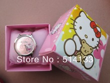 KT cat hello Kitty cartoon students children cartoon watch girls in a box electronic watch   free shipping1pcs/lot