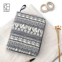 Kinbor A6 Notebook Vintage Blue Canvas Cover Zipper Wallet Card Holder Journal Note Book Planner Diary Organizer Gifts(China)