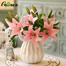 1pc 3 Heads Real Touch Artificial Lily Flowers Pink Silk Bouquet For Home Party Wedding Decoration Decorative Flowers Wreaths(China)