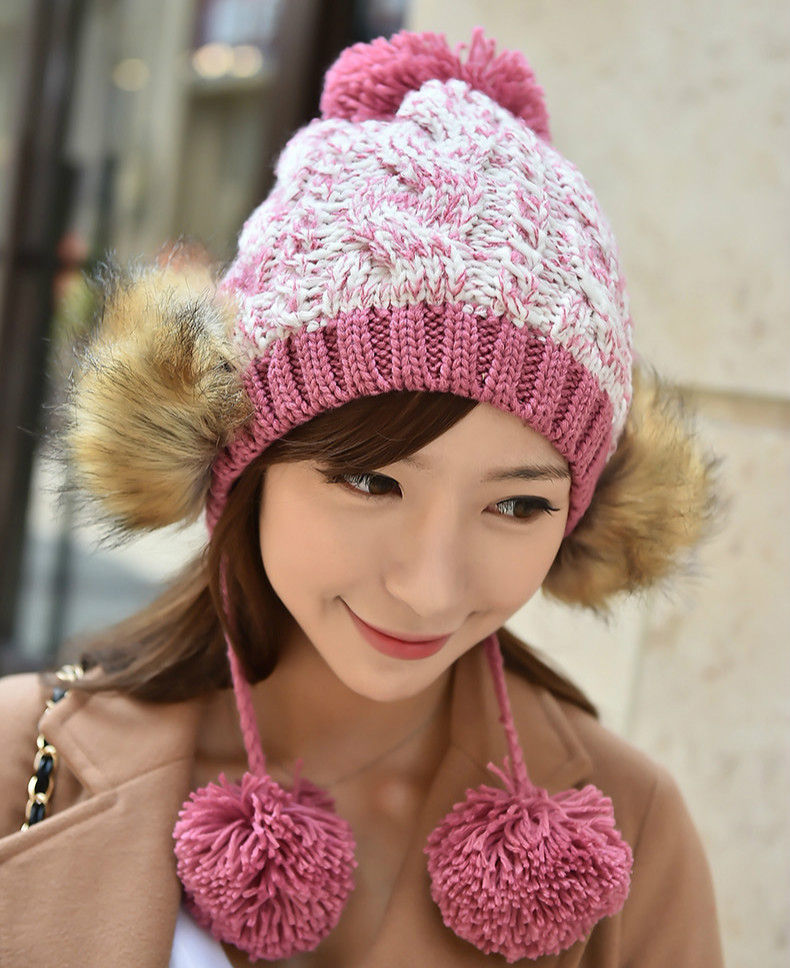 Stylish Stitching Fur Hairball Womens Fashion Winter Warm Beanie 100% Handmade Knitted Hat CapÎäåæäà è àêñåññóàðû<br><br><br>Aliexpress