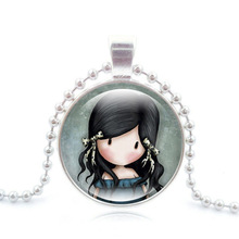 Glass Cabochon Jewelry with Silver Plated Little Girl Pattern Choker Long Pendant Necklace for Women Birthday Day Gift