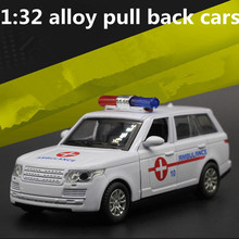 1:32 alloy pull back cars,high simulation range rover ambulance  model,metal casting,toy vehicles,musical&flashing,free shipping