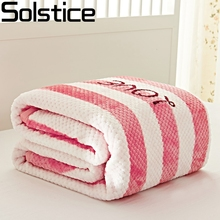 Solstlce Brand Bedding Winter chunky knit wool  blanket Pink girl striped cotton blanket for bed On Sofa Bedspreads Home Textile