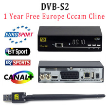 1 Year CCCAM Europe Cline freesat V8 super DVB-S2 FTA Satellite receiver full HD Support Cccam powervu biss key Decoder+USB WIFI