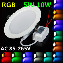 Promotion 5W 10W LED RGB bulb AC85~265V LED RGB DownLight LED Ceiling Lamp 16Colors + Romote Controller Best Limited Offer(China)