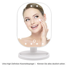 20 LED Touch Screen Makeup Mirror Professional Vanity Mirror Lights Health Beauty Adjustable Countertop 180 Rotating LED Mirror