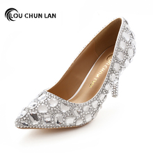 Women Pumps Shoes Pointed Toe Thin Heels Crystal Shoes Wedding Shoes Bridal Shoes rhinestone handmade female high-heeled(China)