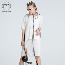 Margin Point Version 2017 Fashion Women Summer Chiffon Short Sleeve White Mini Slit Dress Casual Jurken dresses (Within Vest)(China)